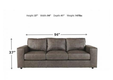 Gray Leather Ashley Couch for sale